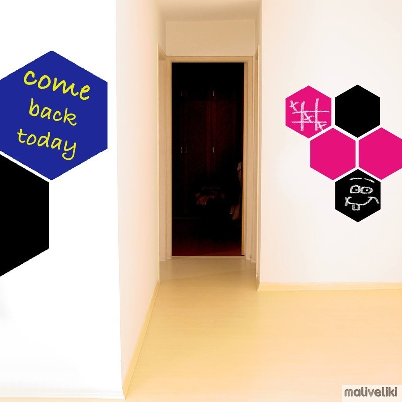 chalkboard wall sticker hexagon maliveliki